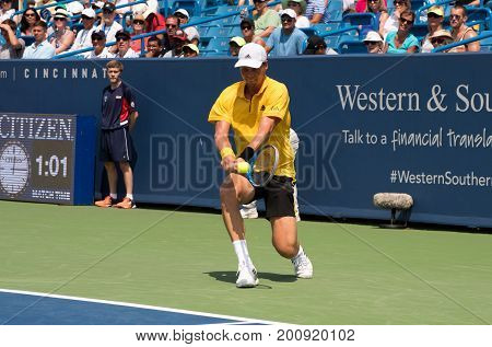 Mason Ohio - August 15 2017: Tomas Berdych in a first round match at the Western and Southern Open tennis tournament in Mason Ohio on August 15 2017.