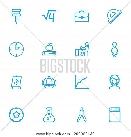 Set Of 16 Editable Teach Outline Icons. Includes Symbols Such As Encyclopedia, Ring, Dividers And More