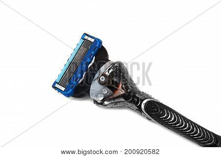 Men's shaver razor with Water droplets on isolated background