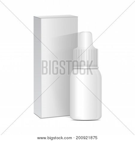 Spray Nasal or Eye Antiseptic Drugs. White Plastic Bottle With Box. Common Cold, Allergies. Vector Realistic Mock Up for your design