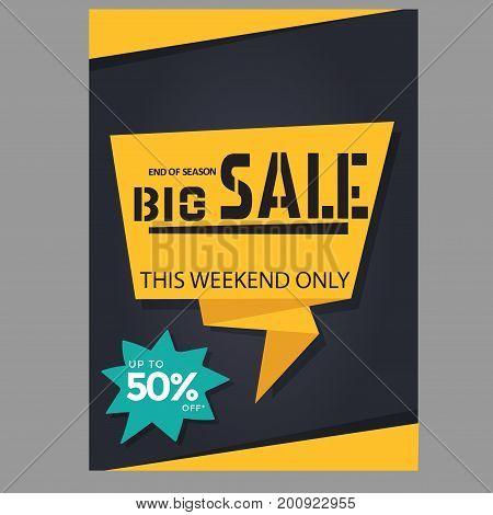 big sale banner template on black background