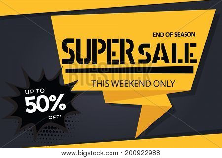 super sale banner template on black background up to 50% off