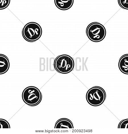 Coin drachma pattern repeat seamless in black color for any design. Vector geometric illustration