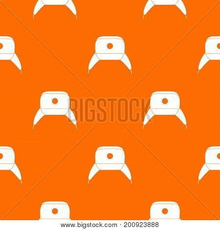 Earflap hat pattern repeat seamless in orange color for any design. Vector geometric illustration