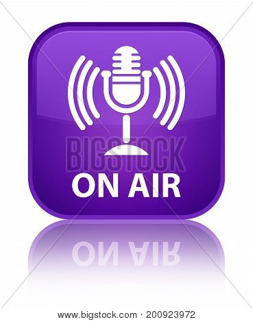 On Air (mic Icon) Special Purple Square Button