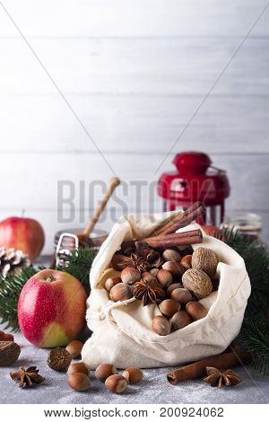 Healthy breakfast with apple, honey, nuts. Christmas and New year concept