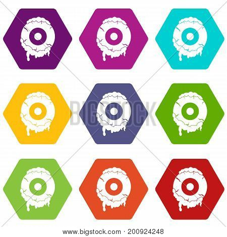 Scary eyeball icon set many color hexahedron isolated on white vector illustration