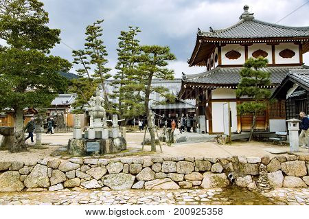 JAPAN, MIYAJIMA, APRIL, 06, 2017 - The centuries-old Itsukushima Shrine on Miyajima is the source of both the island`s fame and its name. It is in the city of Hatsukaichi in Hiroshima Prefecture in Japan.