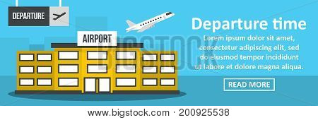 Airport departure time banner horizontal concept. Flat illustration of airport departure time banner horizontal vector concept for web