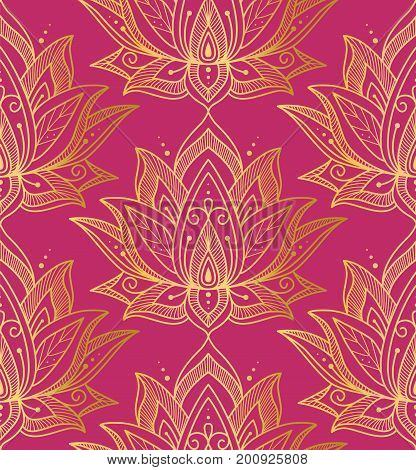 Indian seamless pattern consisting of gilding lotus flowers. Pink background. Vector illustration.