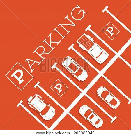 Parking zone poster in minimalist style. Top view parked cars in parking lot outdoor auto park free public parking city transport services vector illustration.