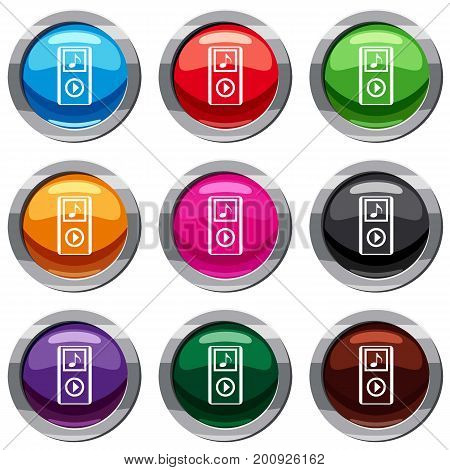 Mini MP3 portable player set icon isolated on white. 9 icon collection vector illustration
