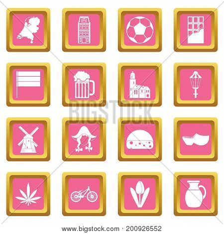 Netherlands icons set in pink color isolated vector illustration for web and any design
