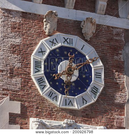 Clock with pendulum and escapement mechanism Venice military arsenal to understand a concept of culture and tourism