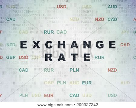 Currency concept: Painted black text Exchange Rate on Digital Data Paper background with Currency