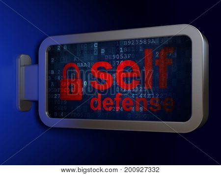 Protection concept: Self Defense and Closed Padlock on advertising billboard background, 3D rendering