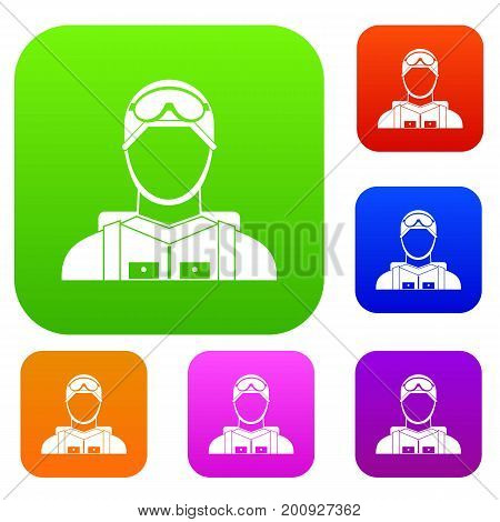 Military paratrooper set icon in different colors isolated vector illustration. Premium collection