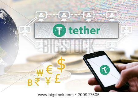 Concept of Tether Coin aka. USDT a Cryptocurrency blockchain platform Digital money