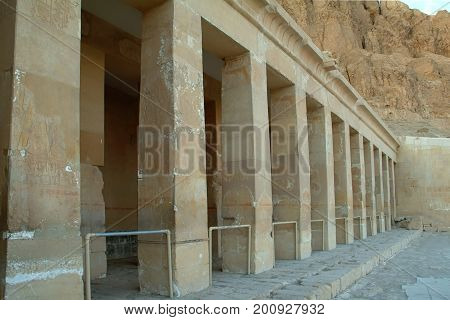 Columns Of The Temple  Of Queen Hatshepsut  without people, Thebes, UNESCO World Heritage Site, Egypt, North Africa, Africa