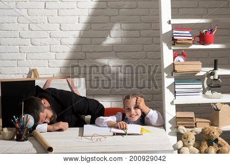 Schoolgirl With Happy Face And Her Sleepy Dad