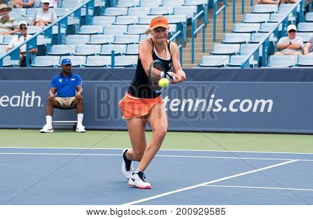 Mason Ohio - August 16 2017: Ekaterina Makarova in a second round match at the Western and Southern Open tennis tournament in Mason Ohio on August 16 2017.