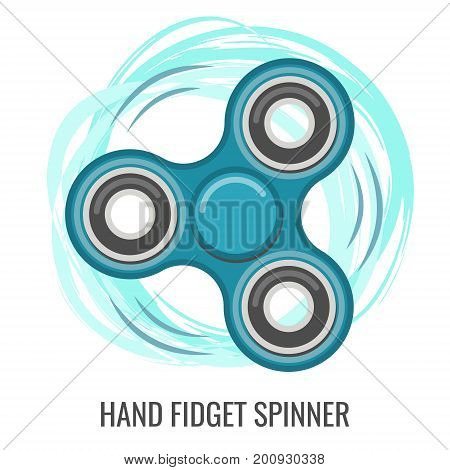 Moving hand fidget spinner color blue vector toy. Stress and anxiety relief. Colorful illustrations, logo design