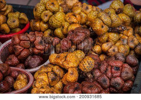 A Shot Of Snake Fruits Taken At A Local Market In Bintulu, Malaysia.