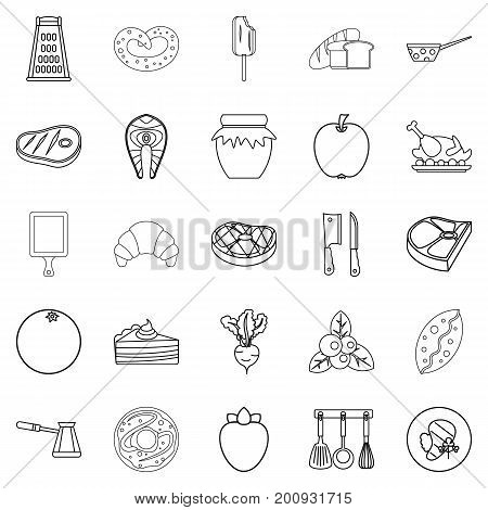 Fish steak icons set. Outline set of 25 fish steak vector icons for web isolated on white background