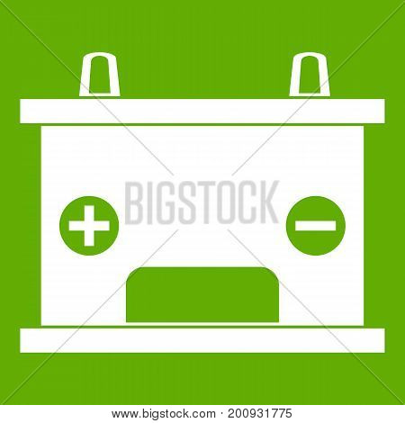 Electricity accumulator battery icon white isolated on green background. Vector illustration