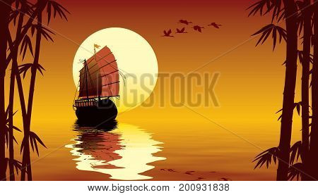 Tropical sunset with sailing ship flying birds and bamboo trees