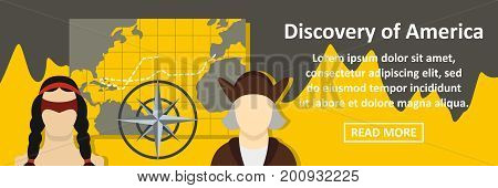 Discovery of america banner horizontal concept. Flat illustration of discovery of america banner horizontal vector concept for web