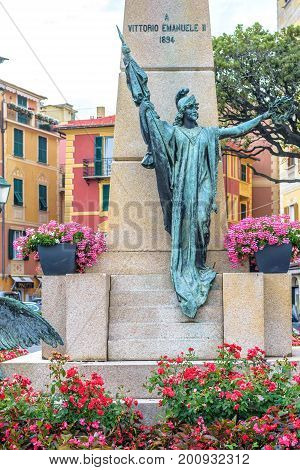 SANTA MARGHERITA LIGURE, ITALY - JUNE 27, 2017: Beautiful rainy and cloudy day view to Victor Emmanuel II of Italy statue in Santa Margherita Ligure city.