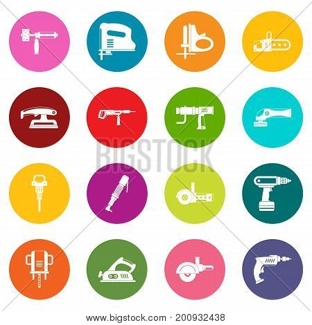 Electric tools icons many colors set isolated on white for digital marketing