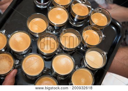 Lot Of Coffee Cups At Restaurant Or Cafe In Party Celebration