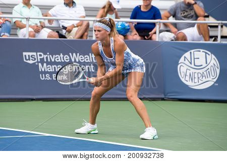 Mason Ohio - August 18 2017: Camila Giorgi in a round of 16 match the Western and Southern Open tennis tournament in Mason Ohio on August 18 2017.