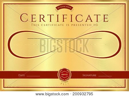 Certificate, Diploma of completion (abstract design template, background) with gold frame , dark red pattern and Infinity symbol