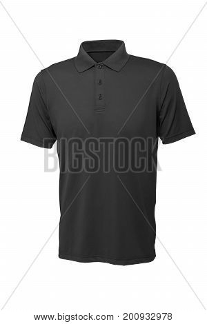 Grey color golf tee shirt for man or woman on white background