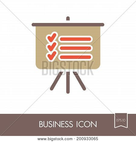 Statistics in training board outline icon. Planning sign. Business. Graph symbol for your web site design logo app UI. Vector illustration EPS10.