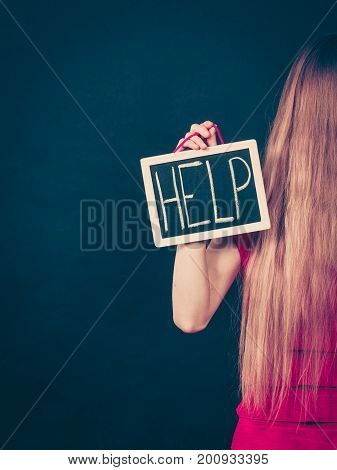 Suicidal Woman Holding Help Sign