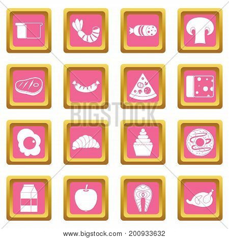 Food icons set in pink color isolated vector illustration for web and any design