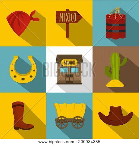 Wild west things icons set. Flat set of 9 wild west things vector icons for web with long shadow