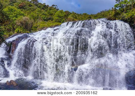 A section of Baker's Falls at Horton Plains National Park in Sri Lanka. Horton Plains National Park is a protected area in the central highlands of Sri Lanka