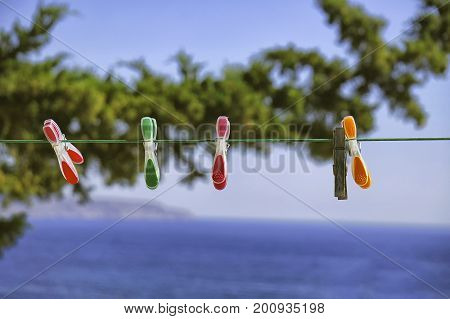 Colorful clothes pegs on the blue sky and tree with sea at the background.