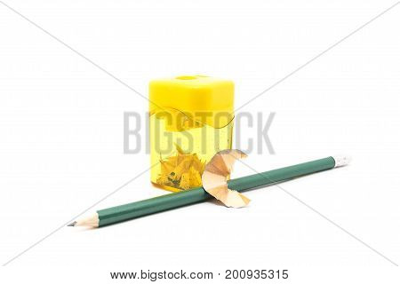 Pencil with a sharpener isolated on white background