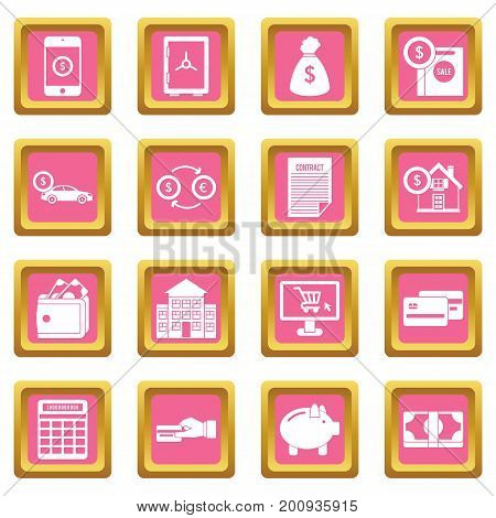 Credit icons set in pink color isolated vector illustration for web and any design