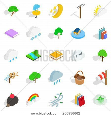 Woodland icons set. Isometric set of 25 woodland vector icons for web isolated on white background