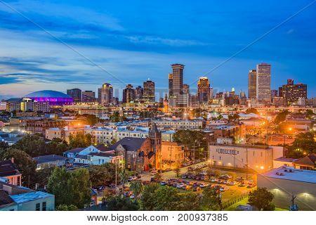 New Orleans, Louisiana downtown city skyline.