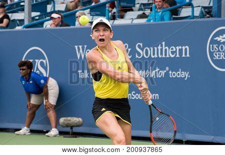 Mason Ohio - August 17 2017: Simona Halep in a round of 16 match at the Western and Southern Open tennis tournament in Mason Ohio on August 17 2017.