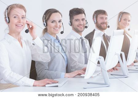 Call Center Workers In Office