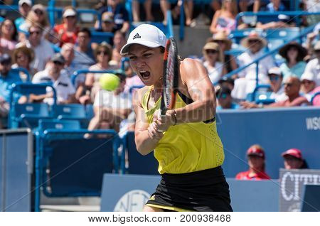 Mason Ohio - August 20 2017: Simona Halep in the championship match at the Western and Southern Open tennis tournament in Mason Ohio on August 20 2017.